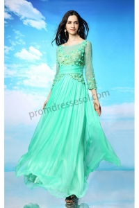 China Green Bateau Ruffle Party Dress With Sleeves SY123 on sale