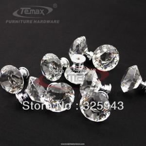 China 100pcs/lot clear zinc glass crystal decorative kitchen drawer dresser door cabinet knobs on sale