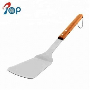 China Wooden handle stainless steel grill spatula turner spatula barbecue spatula on sale