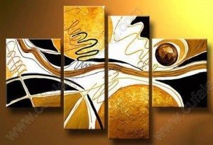 China Modern Abstract Huge Wall Art Handmade Oil Painting On Canvas 4pcs AB158 on sale
