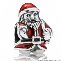 China Sterling Silver Pandora Enamel Silver Bead Red Santa on sale