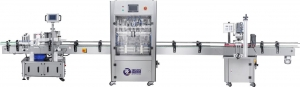 China Automatic labeling machine + automatic 4 head filling machine + automatic cappin on sale
