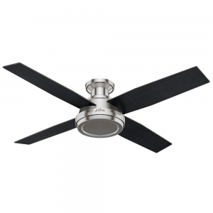 China Beautiful Low Profile Ceiling Fans Flush Mount At Hunter 59247 Dempsey Brushed Nickel Fan With on sale