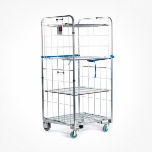 China Trolley Supermarket-Roll-Cage-Trolley-2-Sided-Removable-Shelves on sale