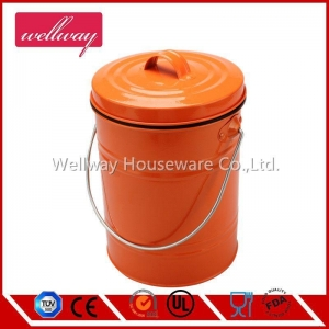 China Kitchen Galvanized Round Orange Garbage Compost Pail on sale