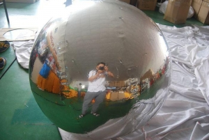 China Large Inflatable Mirror Ball 5m Decoration Giant PVC Balloon Silver on sale