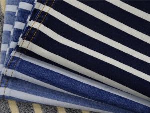 China 280G C/SP Indigo Stripe French Terry Dyed yarn for knit denim on sale