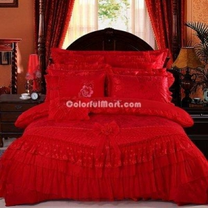 China Being In Full Flower Red Bedding Set Princess Bedding Girls Bedding Wedding Bedding Luxury Bedding on sale