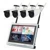 China 4CH Wireless NVR Kit CCTV 12.5 inch LCD Monitor Wireless Home Outdoor Wifi Security Camera System on sale