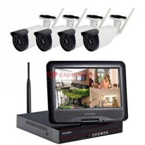 China 10 inch LCD Screen 15M IR Distance Wireless Nvr Kit 4CH Wifi Cctv Camera Fixed Lens Bullet Camera on sale