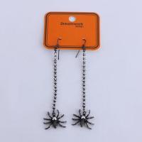 China Halloween Claw Chain Rhinestone Spider Long Black Dangle Earrings on sale