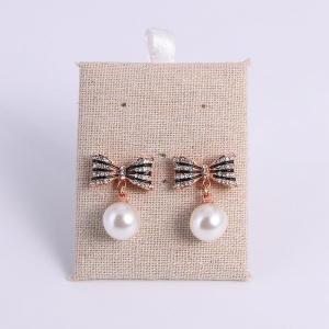 China Elegant Diamond-studded Imitation Pearl Rose Gold Dangle Earrings on sale
