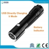 China JFF69 18650 USB Charging Zoomable LED Flashlight with Battery Indicator for sale