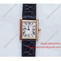 Swiss Quartz Cartier Tank Solo Replica Watch Rose Gold Black leather Strap