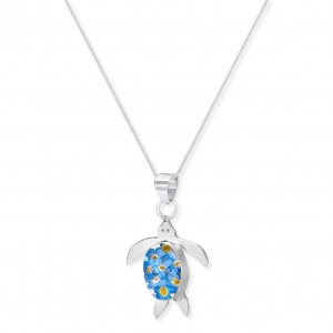 China Silver Pendant Necklace - Forget-me-not - Turtle on sale