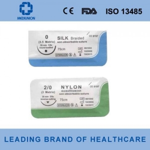China Polyester brainded suture with needle Item No. on sale