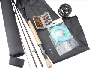 China 30 pcs 9 ft Fly Fishing Rod and Reel Complete Outfit Kit Fishing Rod Reel Lures Fly Lines With Case on sale
