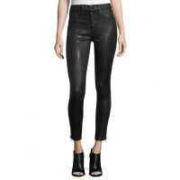 Rag & Bone/jean Ame Mid-Rise Button-Fly Skinny Leather Pants Women Apparel