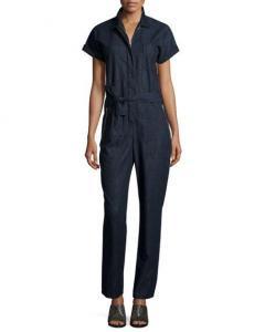 China Rag & Bone Tiggy Short-Sleeve Chambray Jumpsuit Indigo Women Apparel Jumpsuits & Rompers on sale