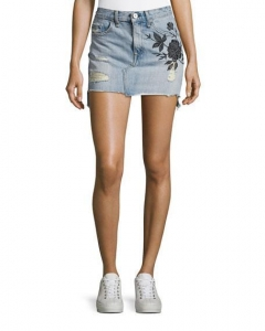 China Rag & Bone/jean Dive Embroidered Denim Mini Skirt Indigo Women Apparel Skirts on sale
