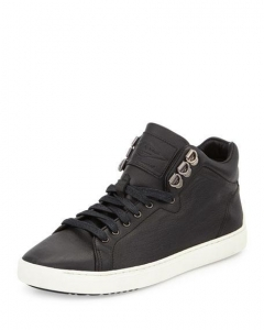 China Rag & Bone Kent Leather Mid-Top Sneaker Black Women Shoes on sale