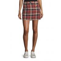 Rag & Bone Leah Cotton Plaid Mini Skirt W\/ Leather Trim Women Apparel Skirts