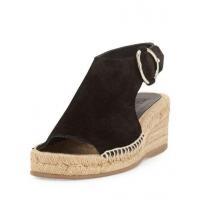 Rag & Bone Calla Suede Wedge Espadrille Sandal Black Women Shoes High Heels