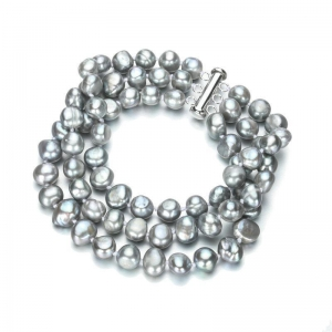 China 8mm AA baroque silver gray 925 sterling silver pearl bracelet jewelry on sale