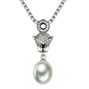 China 925 sterling silver wholesale freshwater drop pearl pendant necklace on sale