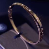 Wholesale Korea Fashion Plain Double Deck Titanium Steel Bracelet Gold Plating Bangle With Diamond