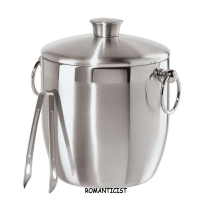 ROMANTICIST Stainless Steel Ice Bucket with Tongs, 3 L