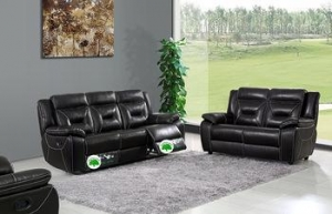 China 607 black sofa recliner leather on sale