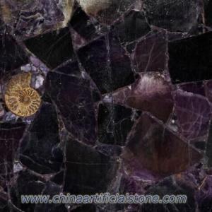 China Amethst Semi Precious Stone Cross Cut Slab TSP-104 on sale