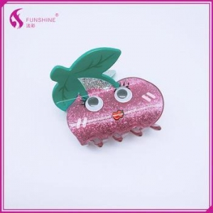 China Hair Accessories Hair Clip Acrylic Fruits Cherry Snap Clip With Epoxy For Kids Girls Lady Woman on sale