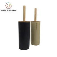 China Wooden Look Brush Holder Polyresin Black White Porcelain Ceramic Look Toilet Brush Holder on sale