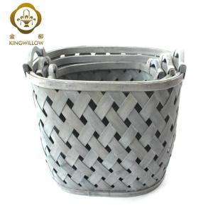 China KINGWILLOW,Oval woodchip laundry basket with handle hamper basket on sale