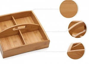 China Bamboo Food Server Display Plate Multi Sectional Compartment Serving Tray on sale
