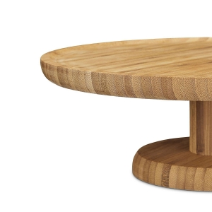 China Bamboo Round Cake Stand, 33 cm, Bamboo, with Pedestal Foot, Size: ca 11.5 x 33 cm on sale