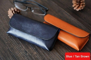 China Custom Handmade Vegetable Tanned Italian Leather Sunglass Case Pouch Pocket D056 on sale
