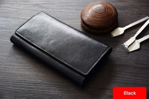 China Custom Handmade Vegetable Tanned Italian Leather Wallet Long Wallet Money Purse Card Holder D051 on sale