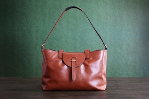 China Custom Handmade Vegetable Tanned Italian Leather Tote Bag Shoulder Bag Women Handbag D047 on sale