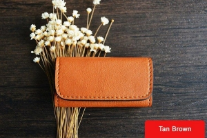 China Custom Handmade Vegetable Tanned Italian Leather Key Holder Key Case D055 on sale