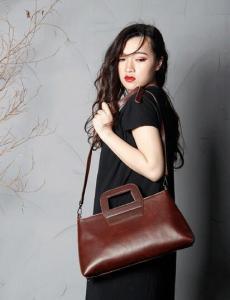 China Handmade Full Grain Leather Women Handbag Shoulder Bag Crossbody Satchel SCY02 on sale