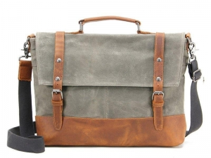 China Waterproof Waxed Canvas Messenger Bag, Men's Shoulder Bag, Canvas Bag with Leather Trim FX2008-1 on sale