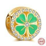 China 925 Silver Charms Four-Leaf Clover Gold Plated 925 Sterling Silver European Beads on sale