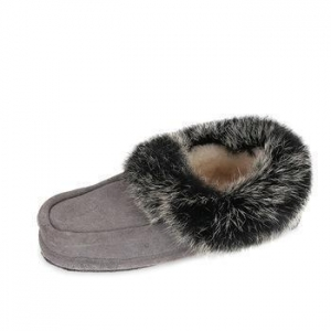 China Custom indoor colorful rabbit fur warm soft sole winter women moccasin slipper shoes on sale