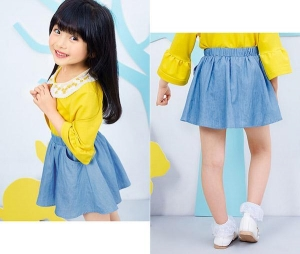 China Girls dress 49.Girls fall dress new denim skirt, half-length skirt, pure cotton, big children on sale