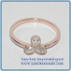 China Rose Gold Plated Brass Ring with AAA CZ Simple Style for sale