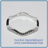 China Hot Sales Simple Ring Brass Material with zircons Rhodium Plated for sale