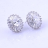 China Clear CZ diamond Brass Earrings white gold plated for sale